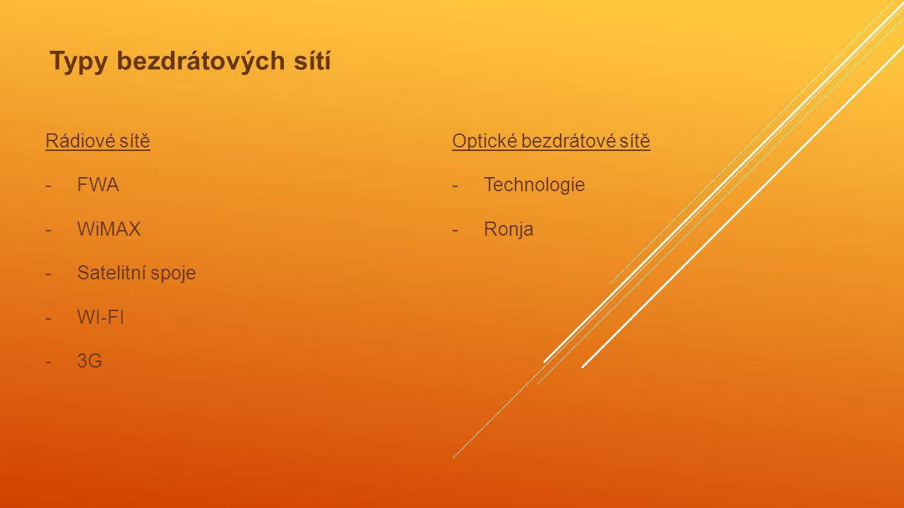 Rádiové sítě - FWA - WiMAX - Satelitní spoje - WI-FI - 3G Optické bezdrátové sítě - Technologie - Ronja Typy bezdrátových sítí