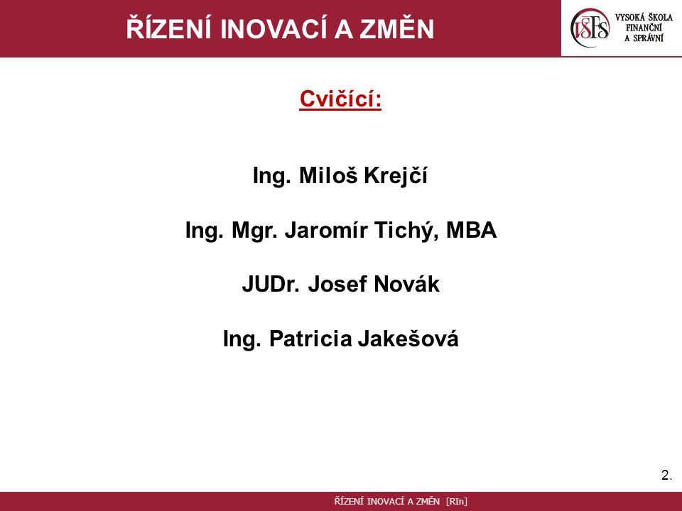 2.2.ŘÍZENÍ INOVACÍ A ZMĚN Cvičící: Ing. Miloš Krejčí Ing.