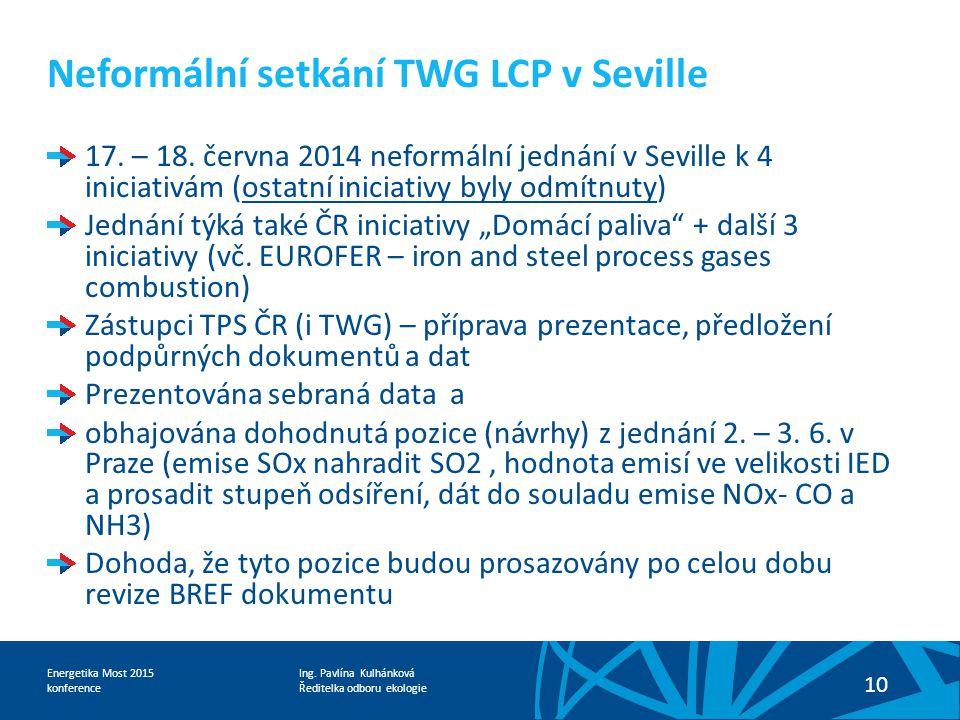 Ing. Pavlína Kulhánková Ředitelka odboru ekologie Energetika Most 2015 konference 10 Neformální setkání TWG LCP v Seville 17. – 18. června 2014 neform