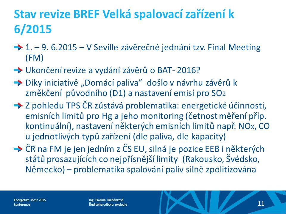 Ing. Pavlína Kulhánková Ředitelka odboru ekologie Energetika Most 2015 konference 11 Stav revize BREF Velká spalovací zařízení k 6/2015 1. – 9. 6.2015