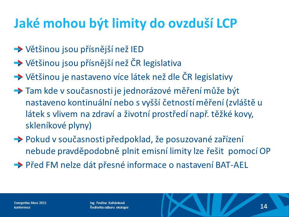 Ing. Pavlína Kulhánková Ředitelka odboru ekologie Energetika Most 2015 konference 14 Jaké mohou být limity do ovzduší LCP Většinou jsou přísnější než