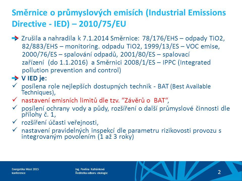 Ředitelka odboru ekologie Energetika Most 2015 konference 2 Směrnice o průmyslových emisích (Industrial Emissions Directive - IED) – 2010/75/EU Zrušil