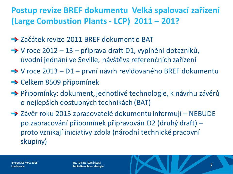 Ing. Pavlína Kulhánková Ředitelka odboru ekologie Energetika Most 2015 konference 7 Postup revize BREF dokumentu Velká spalovací zařízení (Large Combu