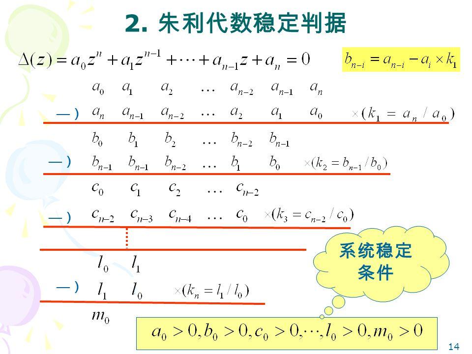 14 2. 朱利代数稳定判据 —)—) —)—) —)—) —)—) 系统稳定 条件