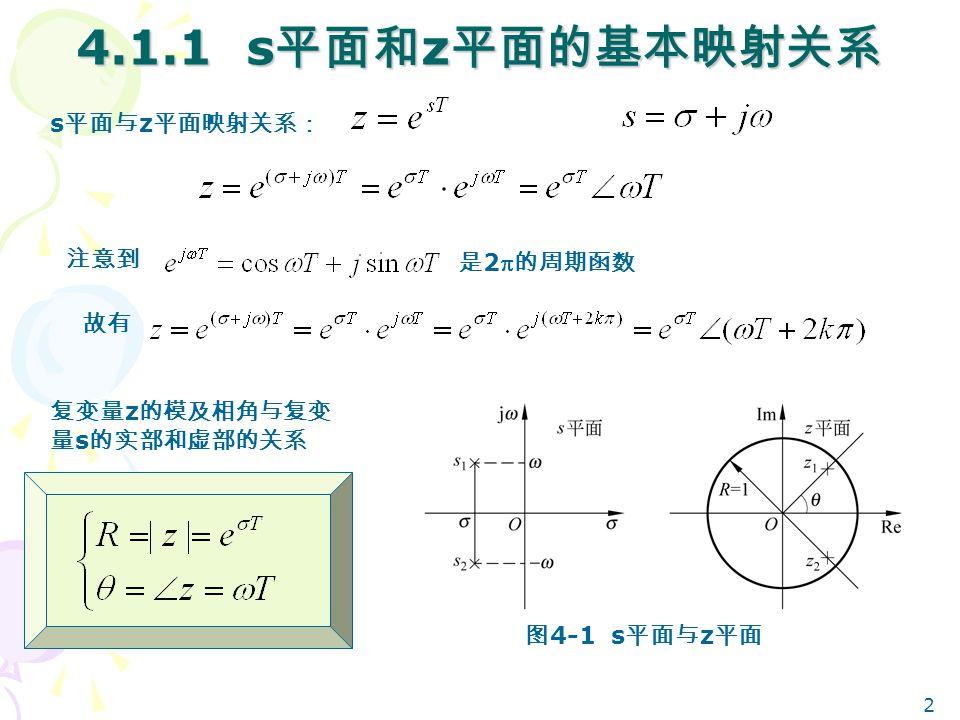 2 4.1.1 s 平面和 z 平面的基本映射关系 s 平面与 z 平面映射关系: 是 2 的周期函数 注意到 故有 复变量 z 的模及相角与复变 量 s 的实部和虚部的关系 图 4-1 s 平面与 z 平面