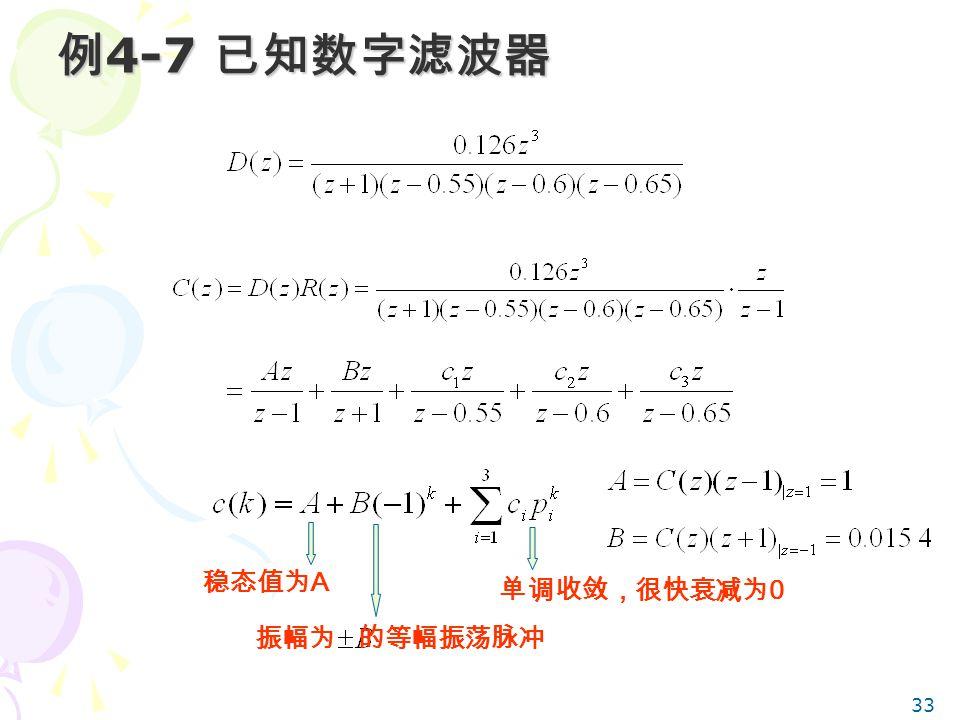 33 例 4-7 已知数字滤波器 稳态值为 A 振幅为 的等幅振荡脉冲 单调收敛,很快衰减为 0
