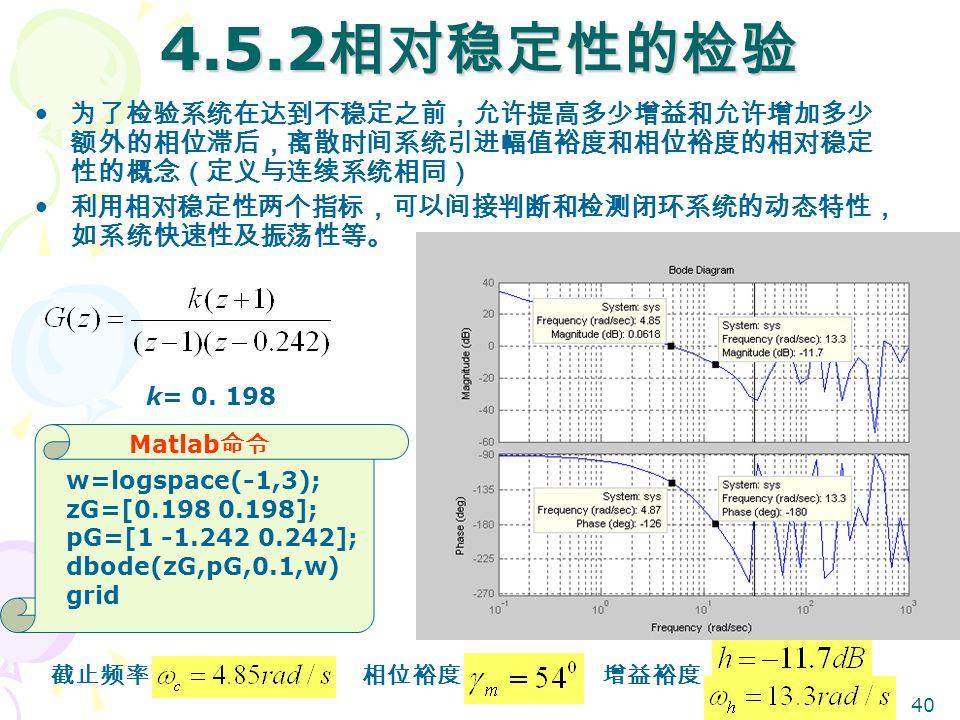 40 4.5.2 相对稳定性的检验 为了检验系统在达到不稳定之前,允许提高多少增益和允许增加多少 额外的相位滞后,离散时间系统引进幅值裕度和相位裕度的相对稳定 性的概念(定义与连续系统相同) 利用相对稳定性两个指标,可以间接判断和检测闭环系统的动态特性, 如系统快速性及振荡性等。 相位裕度增益裕度 Matlab 命令 w=logspace(-1,3); zG=[0.198 0.198]; pG=[1 -1.242 0.242]; dbode(zG,pG,0.1,w) grid k= 0.