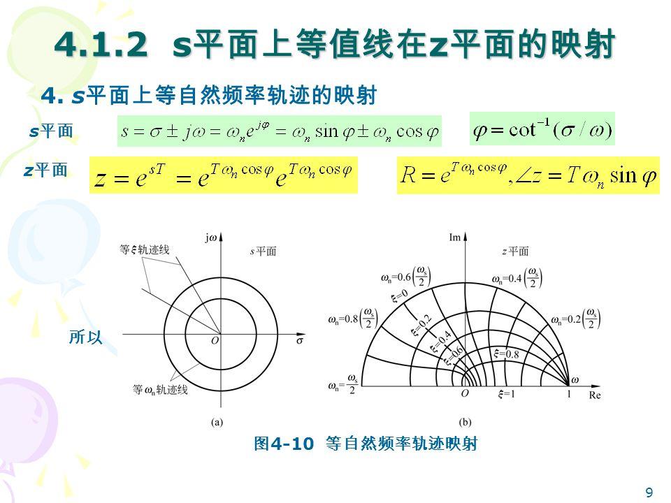 9 4.1.2 s 平面上等值线在 z 平面的映射 4. s 平面上等自然频率轨迹的映射 所以 s 平面 z 平面 图 4-10 等自然频率轨迹映射