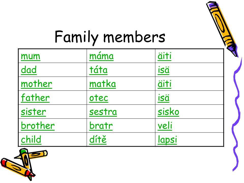 Family members mummámaäiti dadtátaisä mothermatkaäiti fatherotecisä sistersestrasisko brotherbratrveli childdítělapsi