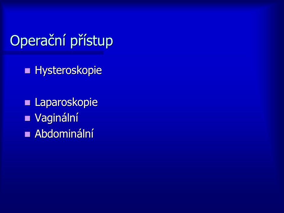 Operační přístup Hysteroskopie Hysteroskopie Laparoskopie Laparoskopie Vaginální Vaginální Abdominální Abdominální