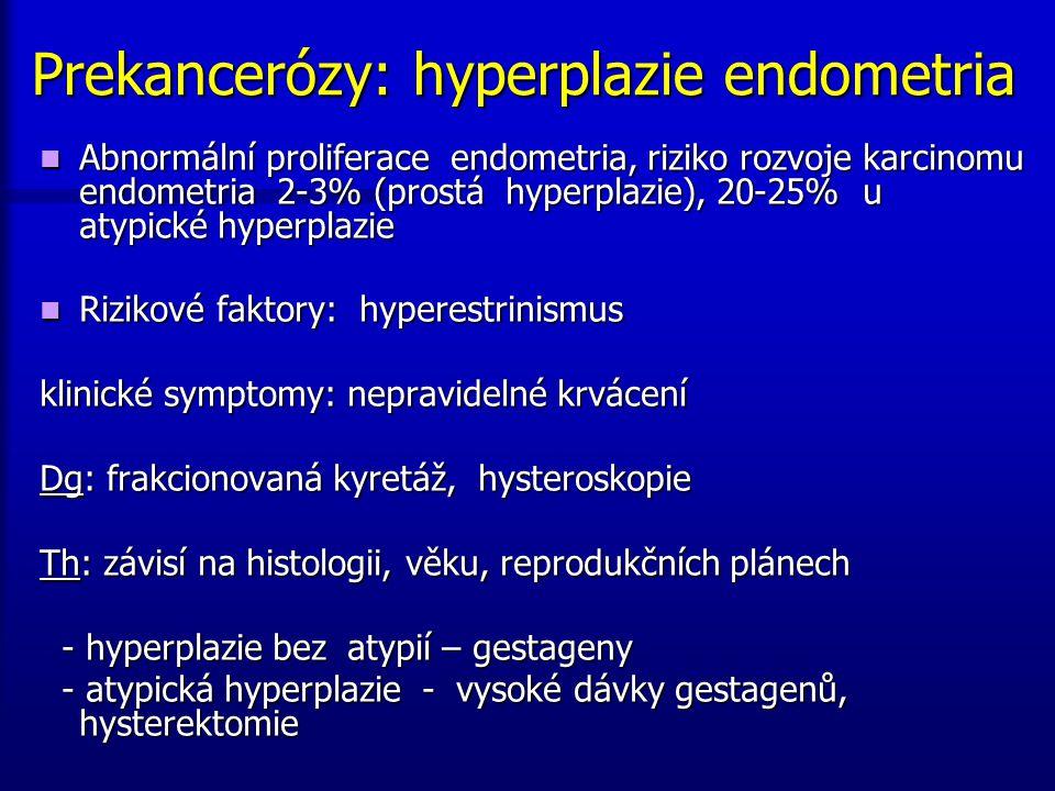 Prekancerózy: hyperplazie endometria Abnormální proliferace endometria, riziko rozvoje karcinomu endometria 2-3% (prostá hyperplazie), 20-25% u atypic
