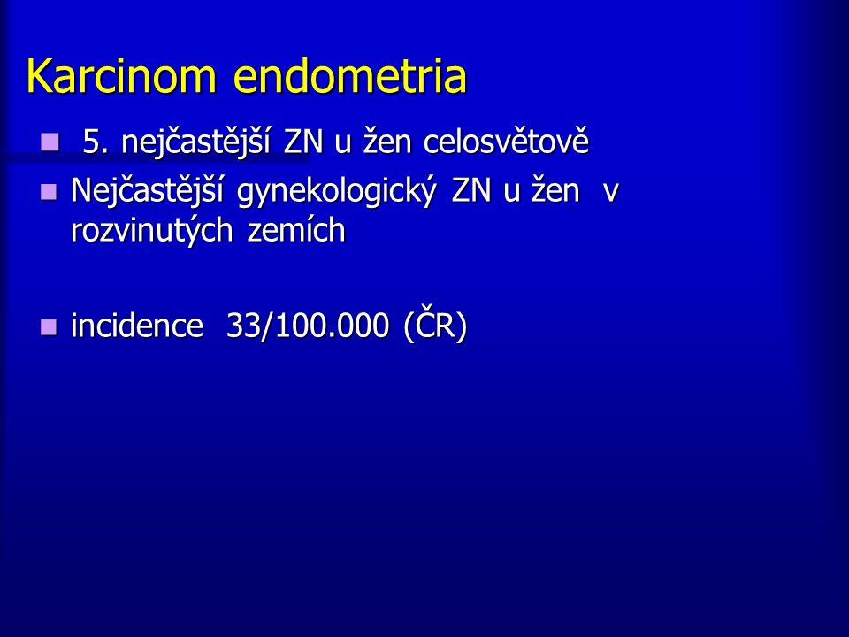 Karcinom endometria 5. nejčastější ZN u žen celosvětově 5. nejčastější ZN u žen celosvětově Nejčastější gynekologický ZN u žen v rozvinutých zemích Ne