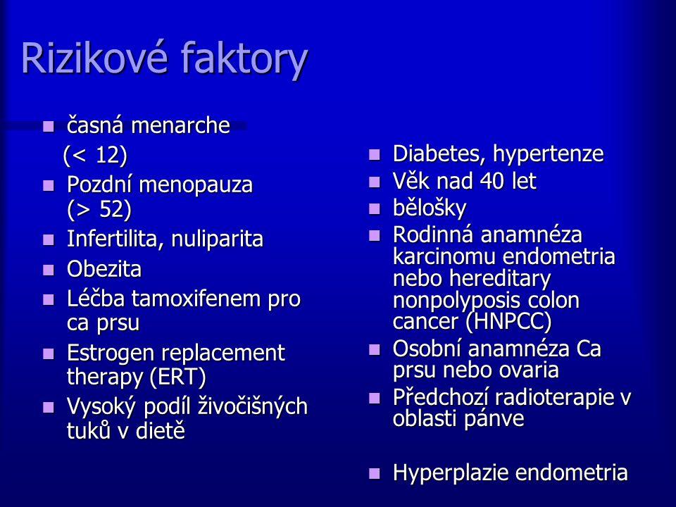 Rizikové faktory časná menarche časná menarche (< 12) (< 12) Pozdní menopauza (> 52) Pozdní menopauza (> 52) Infertilita, nuliparita Infertilita, nuli