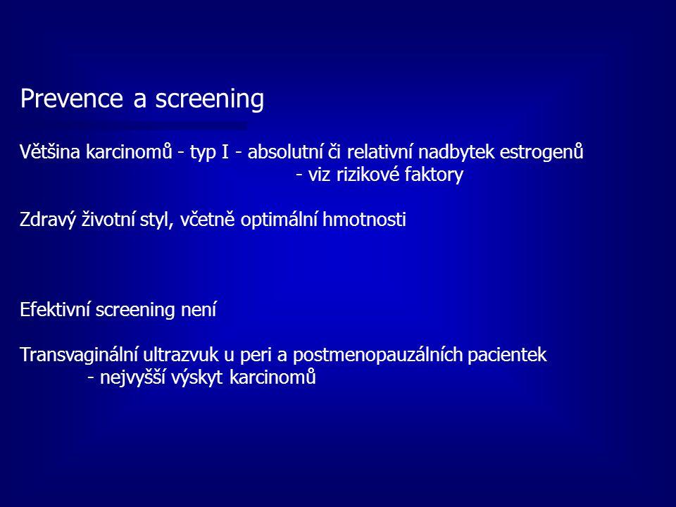 Prevence a screening Většina karcinomů - typ I - absolutní či relativní nadbytek estrogenů - viz rizikové faktory Zdravý životní styl, včetně optimáln