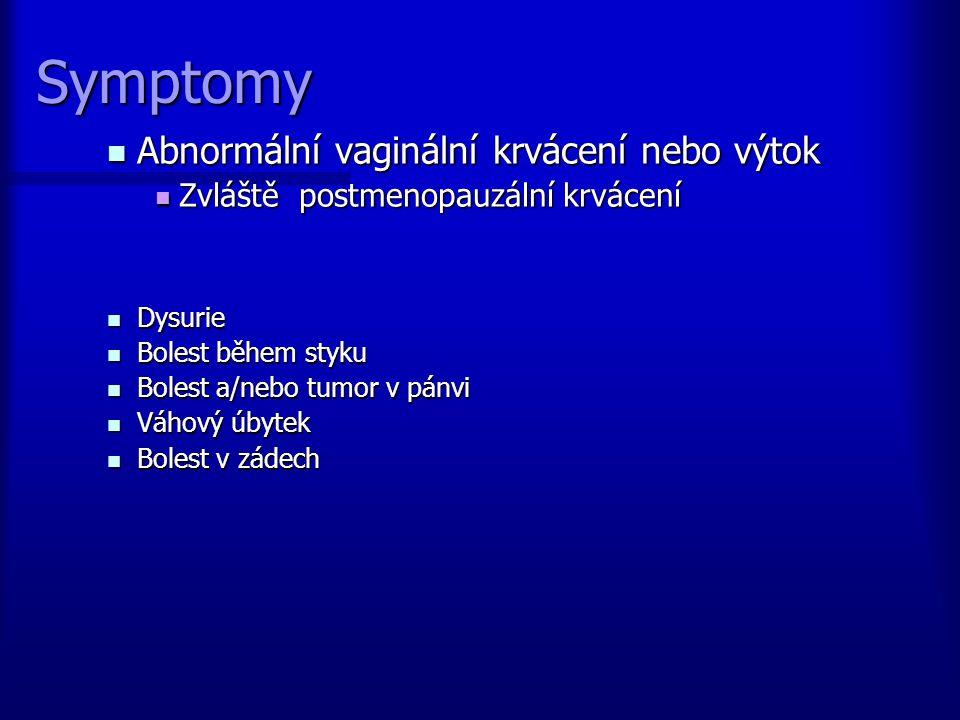 Symptomy Abnormální vaginální krvácení nebo výtok Abnormální vaginální krvácení nebo výtok Zvláště postmenopauzální krvácení Zvláště postmenopauzální