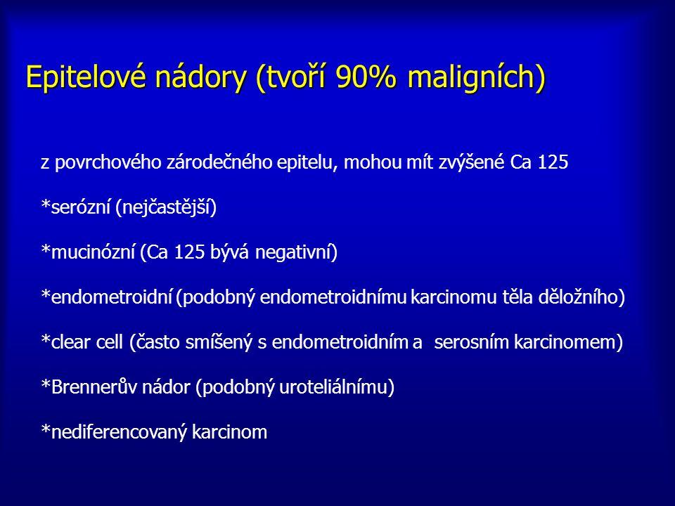 z povrchového zárodečného epitelu, mohou mít zvýšené Ca 125 *serózní (nejčastější) *mucinózní (Ca 125 bývá negativní) *endometroidní (podobný endometr