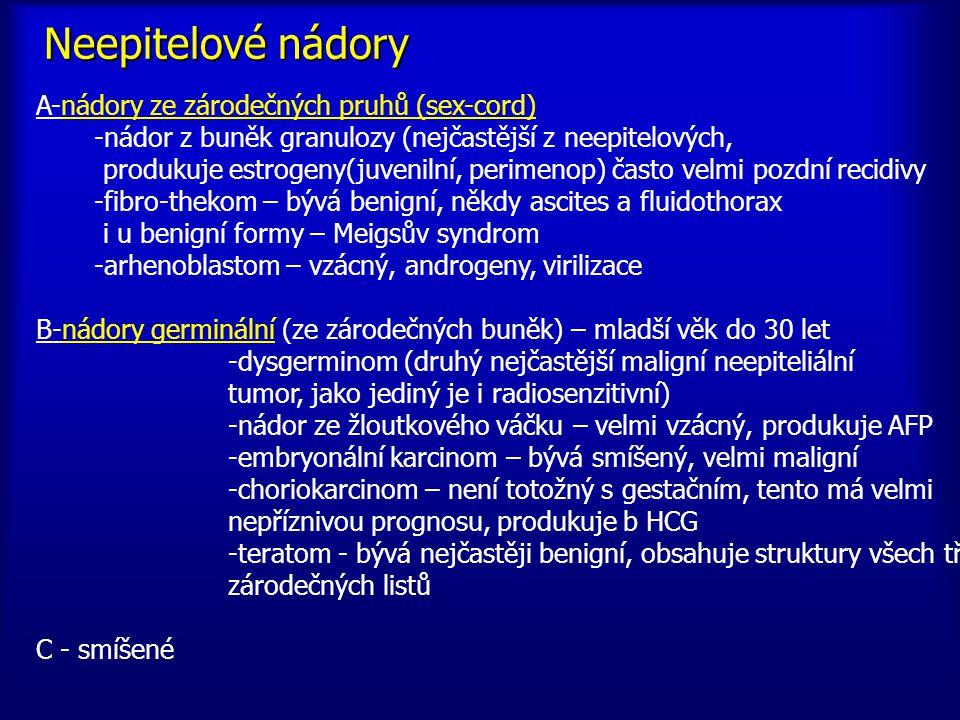 A-nádory ze zárodečných pruhů (sex-cord) -nádor z buněk granulozy (nejčastější z neepitelových, produkuje estrogeny(juvenilní, perimenop) často velmi