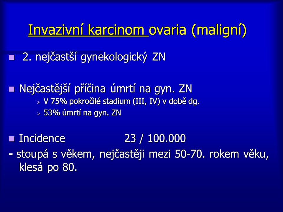 Invazivní karcinom ovaria (maligní) 2. nejčastší gynekologický ZN 2. nejčastší gynekologický ZN Nejčastější příčina úmrtí na gyn. ZN Nejčastější příči