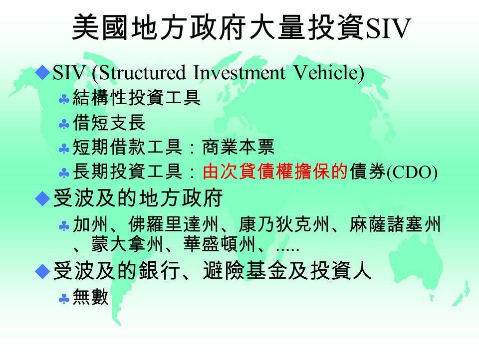 美國地方政府大量投資 SIV  SIV (Structured Investment Vehicle)  結構性投資工具  借短支長  短期借款工具:商業本票  長期投資工具:由次貸債權擔保的債券 (CDO)  受波及的地方政府  加州、佛羅里達州、康乃狄克州、麻薩諸塞州 、蒙大拿州、華盛頓州、.....