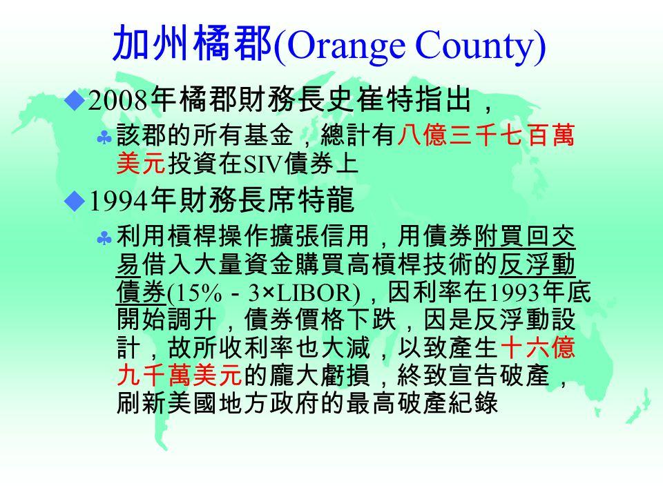 加州橘郡 (Orange County)  2008 年橘郡財務長史崔特指出,  該郡的所有基金,總計有八億三千七百萬 美元投資在 SIV 債券上  1994 年財務長席特龍  利用槓桿操作擴張信用,用債券附買回交 易借入大量資金購買高槓桿技術的反浮動 債券 (15% - 3×LIBOR) ,因利率在 1993 年底 開始調升,債券價格下跌,因是反浮動設 計,故所收利率也大減,以致產生十六億 九千萬美元的龐大虧損,終致宣告破產, 刷新美國地方政府的最高破產紀錄