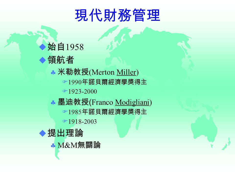 現代財務管理  始自 1958  領航者  米勒教授 (Merton Miller) F1990 年諾貝爾經濟學獎得主 F1923-2000  墨迪教授 ( Franco Modigliani) F1985 年諾貝爾經濟學獎得主  1918-2003  提出理論  M&M 無關論
