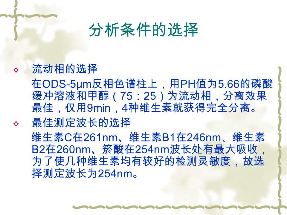 分析条件的选择  流动相的选择 在 ODS-5μm 反相色谱柱上,用 PH 值为 5.66 的磷酸 缓冲溶液和甲醇( 75 : 25 )为流动相,分离效果 最佳,仅用 9min , 4 种维生素就获得完全分离。  最佳测定波长的选择 维生素 C 在 261nm 、维生素 B1 在 246nm 、维生素 B2 在 260nm 、箊酸在 254nm 波长处有最大吸收, 为了使几种维生素均有较好的检测灵敏度,故选 择测定波长为 254nm 。