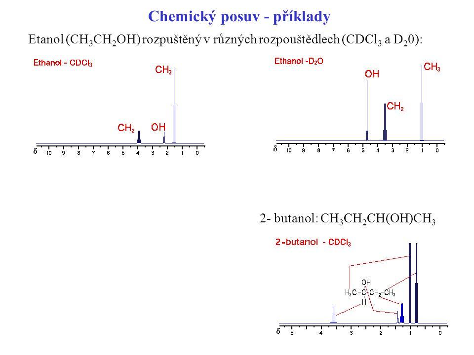 Chemický posuv - příklady Etanol (CH 3 CH 2 OH) rozpuštěný v různých rozpouštědlech (CDCl 3 a D 2 0): 2- butanol: CH 3 CH 2 CH(OH)CH 3