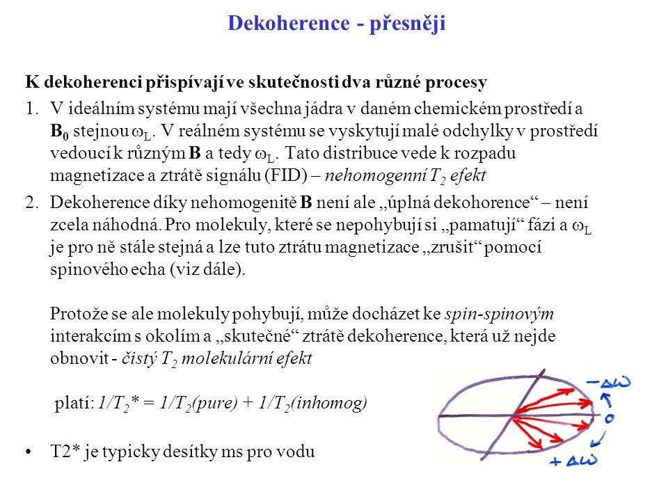 Dekoherence - přesněji K dekoherenci přispívají ve skutečnosti dva různé procesy 1.V ideálním systému mají všechna jádra v daném chemickém prostředí a