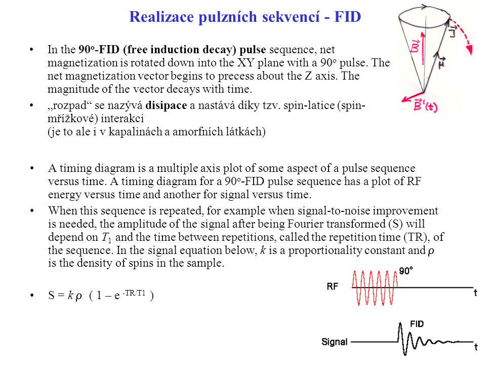 Realizace pulzních sekvencí - FID In the 90 o -FID (free induction decay) pulse sequence, net magnetization is rotated down into the XY plane with a 9