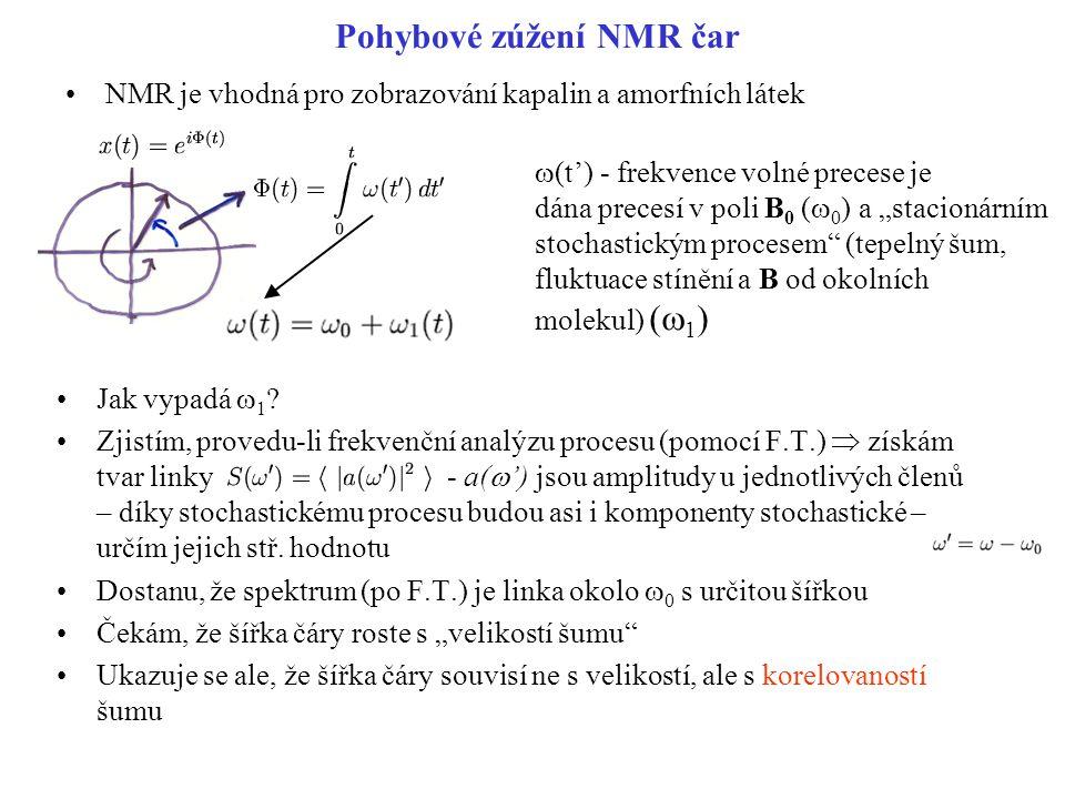 Pohybové zúžení NMR čar NMR je vhodná pro zobrazování kapalin a amorfních látek Jak vypadá  1 ? Zjistím, provedu-li frekvenční analýzu procesu (pomoc