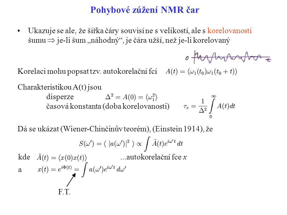 """Pohybové zúžení NMR čar Ukazuje se ale, že šířka čáry souvisí ne s velikostí, ale s korelovaností šumu  je-li šum """"náhodný"""", je čára užší, než je-li"""