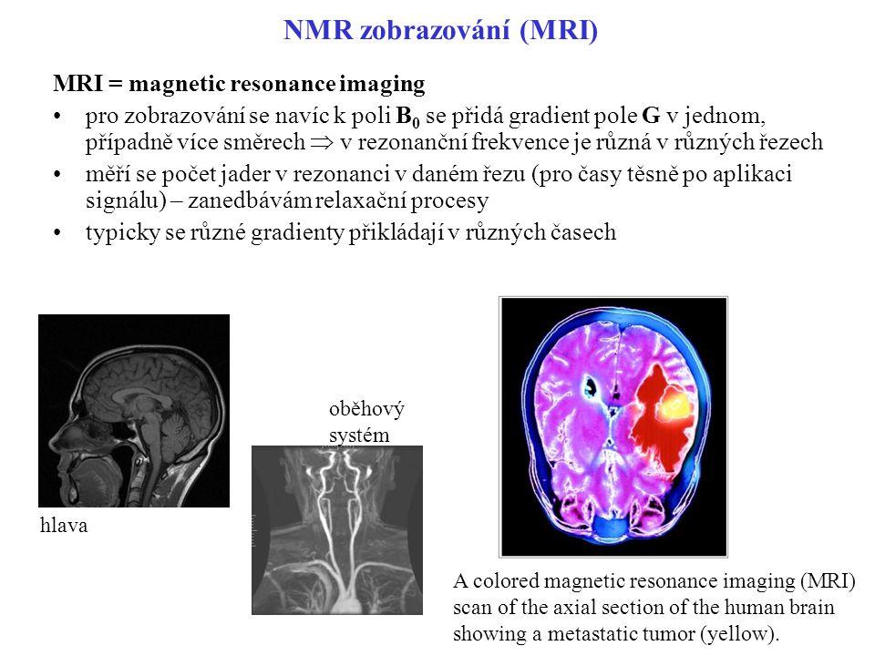 NMR zobrazování (MRI) MRI = magnetic resonance imaging pro zobrazování se navíc k poli B 0 se přidá gradient pole G v jednom, případně více směrech 