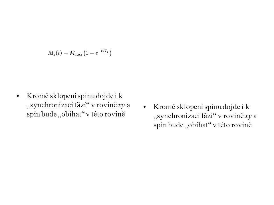 """Kromě sklopení spinu dojde i k """"synchronizaci fází"""" v rovině xy a spin bude """"obíhat"""" v této rovině"""