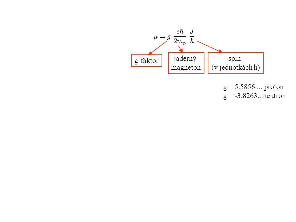 jaderný magneton spin (v jednotkách h) g-faktor g = 5.5856... proton g = -3.8263...neutron