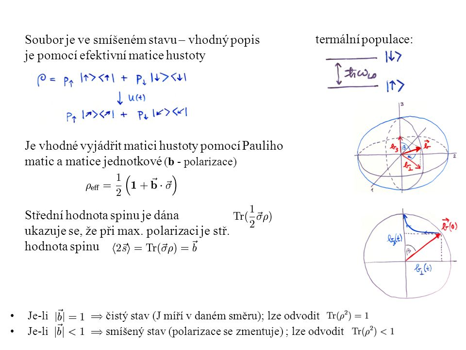 Je-li  čistý stav (J míří v daném směru); lze odvodit Je-li  smíšený stav (polarizace se zmentuje) ; lze odvodit Soubor je ve smíšeném stavu – vhodn