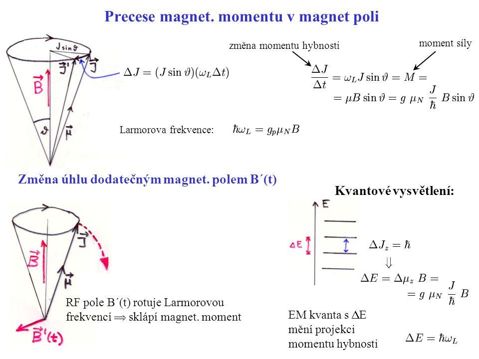 Precese magnet. momentu v magnet poli Změna úhlu dodatečným magnet. polem B´(t) RF pole B´(t) rotuje Larmorovou frekvencí  sklápí magnet. moment  zm