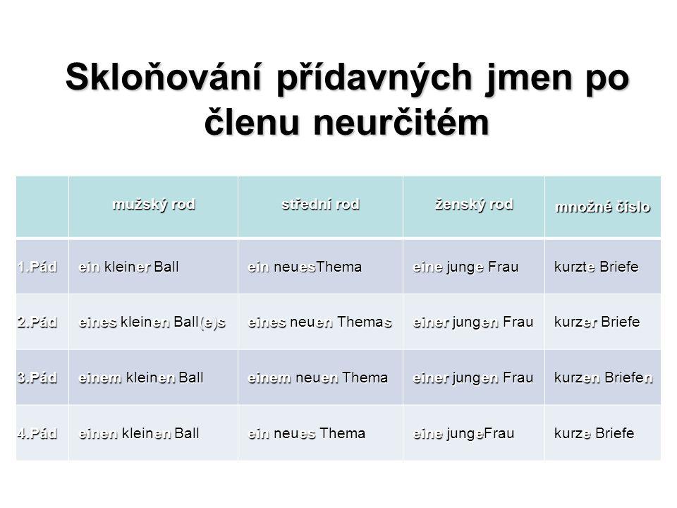 Skloňování přídavných jmen po členu neurčitém mužský rod střední rod ženský rod množné číslo 1.Pád ein kleiner Ball ein kleiner Ball ein neuesThema ei