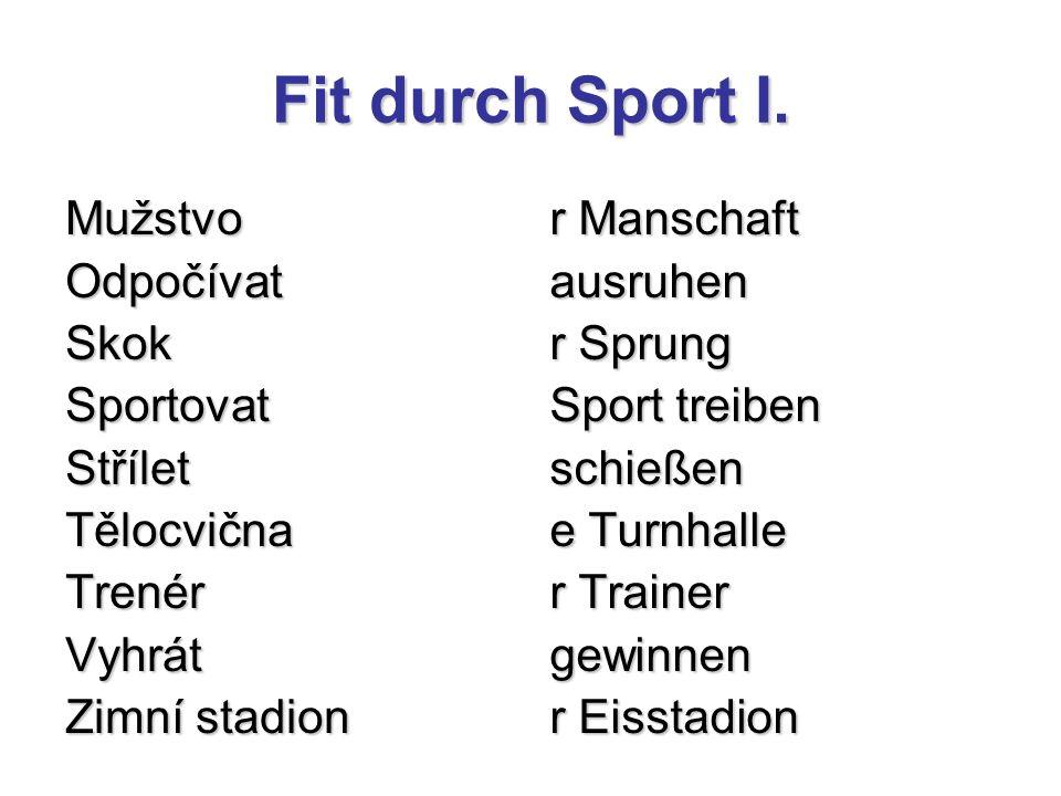 Fit durch Sport I.Přelož do němčiny: (použij skloňování příd.