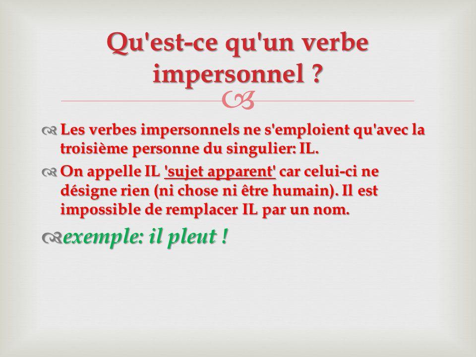   Les verbes impersonnels ne s'emploient qu'avec la troisième personne du singulier: IL.  On appelle IL 'sujet apparent' car celui-ci ne désigne ri