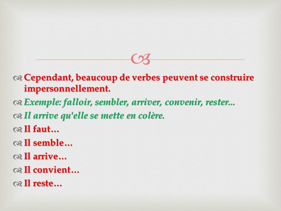   Cependant, beaucoup de verbes peuvent se construire impersonnellement.  Exemple: falloir, sembler, arriver, convenir, rester...  Il arrive qu'el
