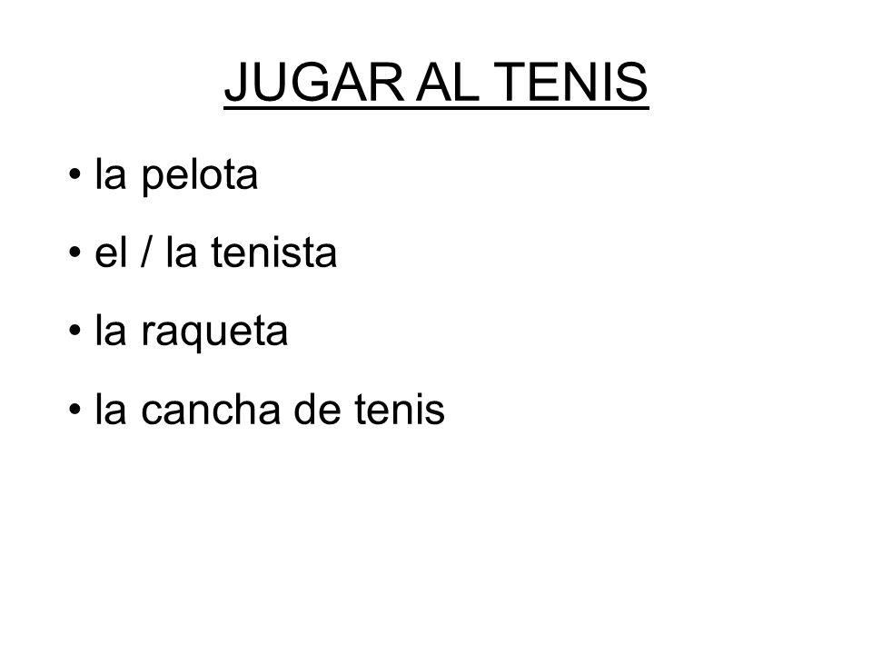 la pelota el / la tenista la raqueta la cancha de tenis