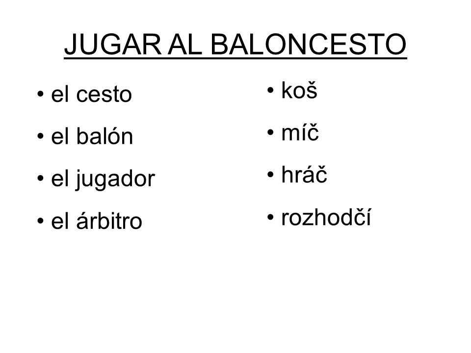 JUGAR AL BALONCESTO koš míč hráč rozhodčí el cesto el balón el jugador el árbitro
