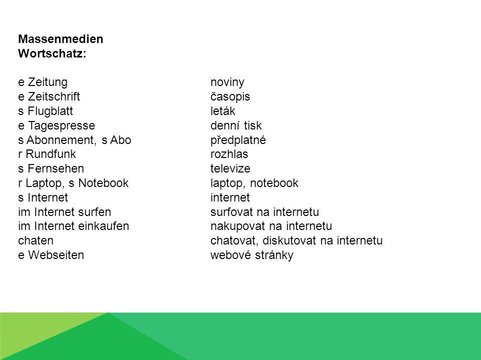 Massenmedien Wortschatz – wie ist das tschechisch.