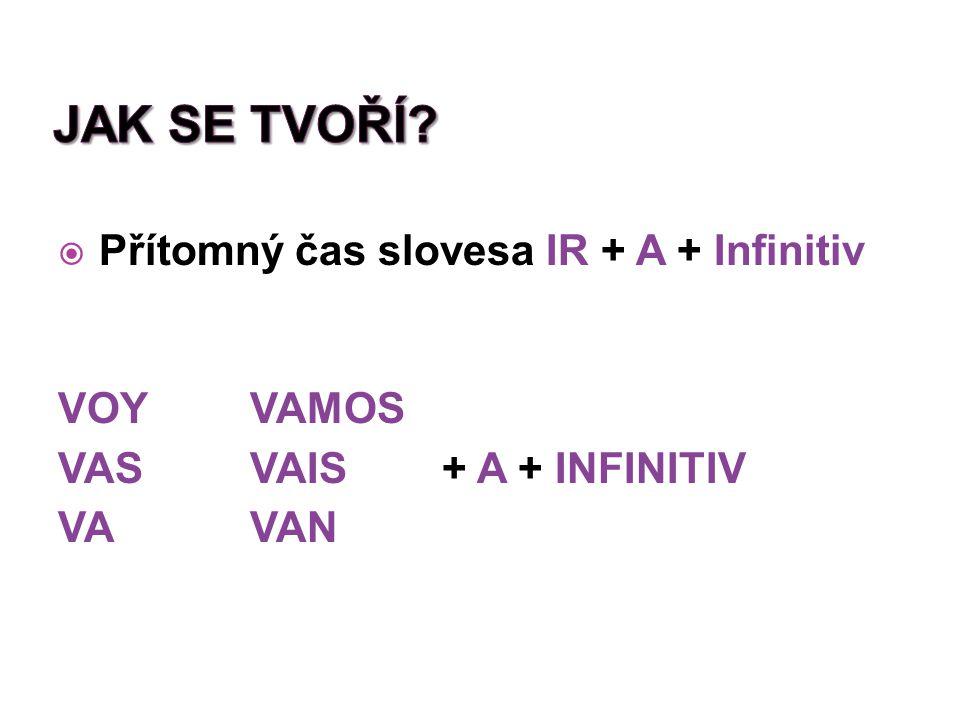  Přítomný čas slovesa IR + A + Infinitiv VOYVAMOS VASVAIS+ A + INFINITIV VAVAN