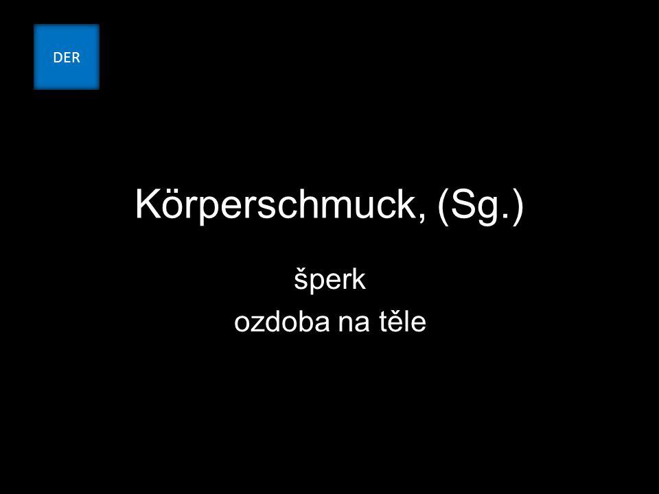 Körperschmuck, (Sg.) šperk ozdoba na těle DER