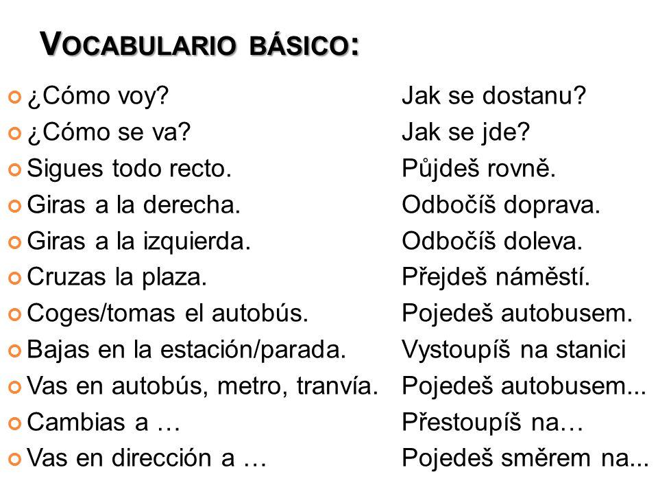 V OCABULARIO BÁSICO : ¿Cómo voy Jak se dostanu. ¿Cómo se va Jak se jde.