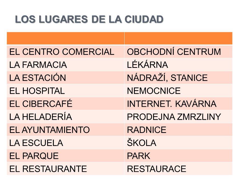 LOS LUGARES DE LA CIUDAD EL CENTRO COMERCIALOBCHODNÍ CENTRUM LA FARMACIALÉKÁRNA LA ESTACIÓNNÁDRAŽÍ, STANICE EL HOSPITALNEMOCNICE EL CIBERCAFÉINTERNET.