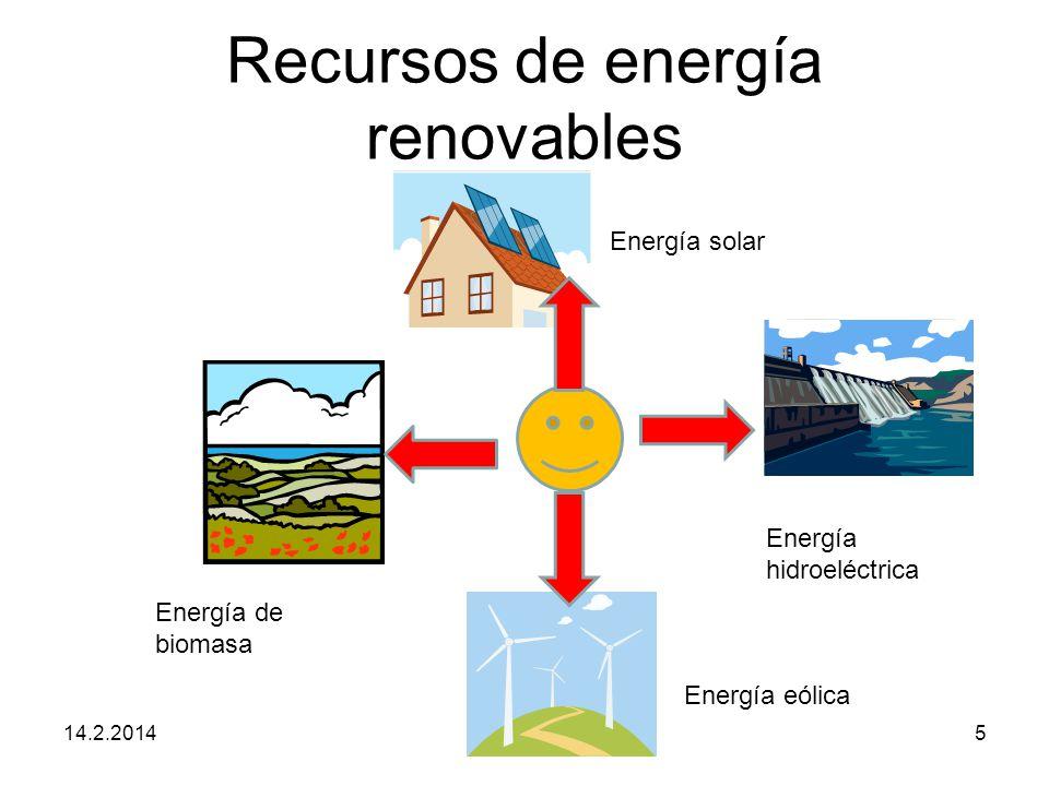 Recursos de energía renovables 14.2.20145 Energía solar Energía hidroeléctrica Energía eólica Energía de biomasa