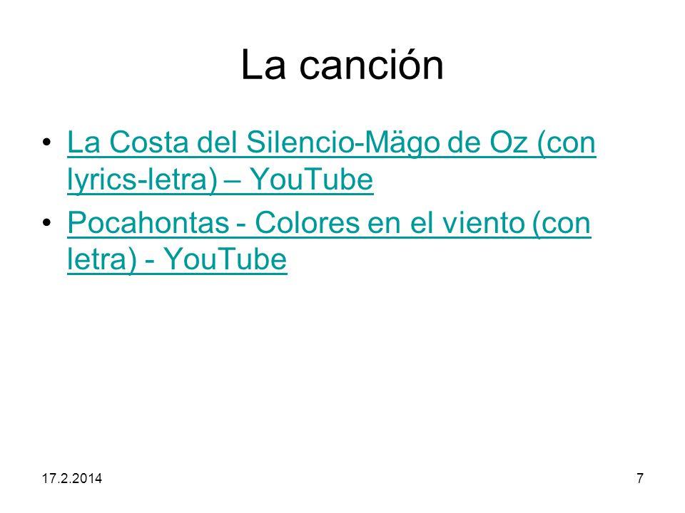 La canción La Costa del Silencio-Mägo de Oz (con lyrics-letra) – YouTubeLa Costa del Silencio-Mägo de Oz (con lyrics-letra) – YouTube Pocahontas - Colores en el viento (con letra) - YouTubePocahontas - Colores en el viento (con letra) - YouTube 17.2.20147