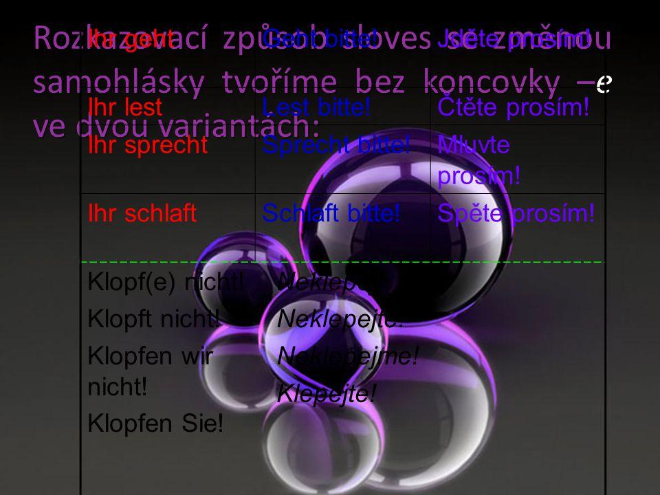Rozkazovací způsob sloves se změnou samohlásky tvoříme bez koncovky –e ve dvou variantách: Ihr gehtGeht bitte!Jděte prosím! Ihr lestLest bitte!Čtěte p